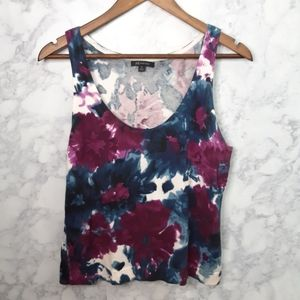 Anne Klein Purple And Blue Floral Tank Top